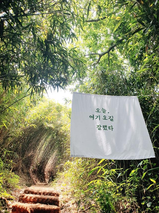 예쁜 글귀가 걸려있는 '샛바람 소리길' 산책로.