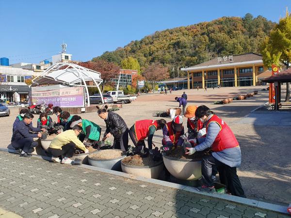 가곡동  도로변 사계절 꽃 화분 배치-밀양역 광장 꽃심기.jpg