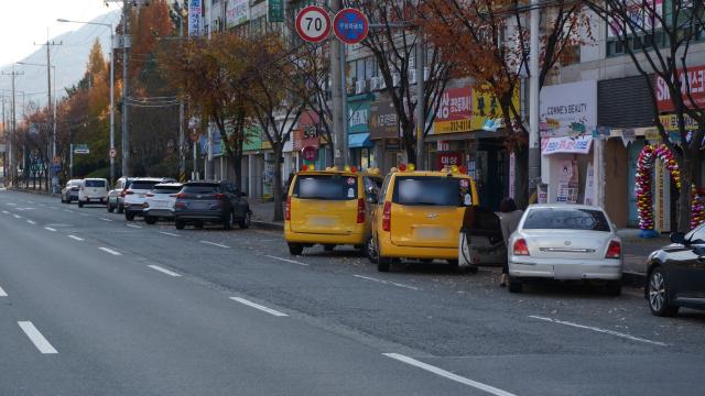 지난달 23일 김해시 대청동 대청프라자 앞 도로에 차량들이 대각선으로 주차돼 있다.