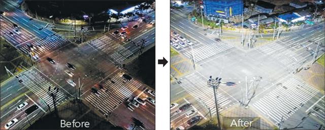 야간 시인성이 저하된 것으로 지적되는 창원시 마산회원구 동마산 새마을금고 본점 부근교차로(왼쪽)와 대형 조명타워가 설치됐을 때 예상한 모습./행정안전부/