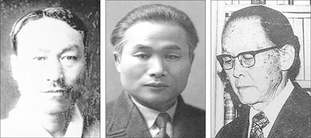 조선어학회 회원인 의령 출신의 이우식(왼쪽부터)·이극로·안호상 선생.