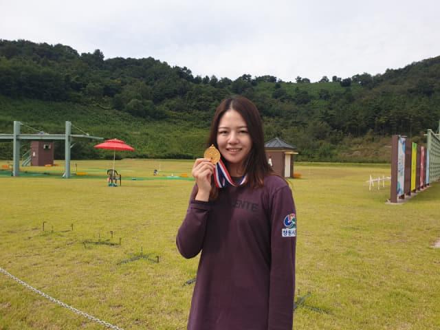 여일반부 스키트에서 금메달을 딴 창원시청 김민지.