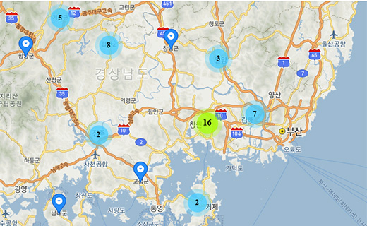 코로나19 경남 지역별 확진자 지도
